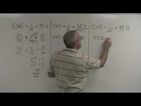 Mixed Fraction, Decimal and Percent