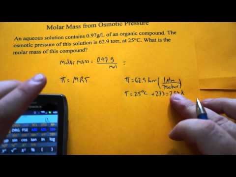 Calculating Molar Mass using Osmotic Pressure
