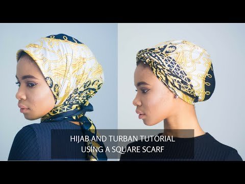 HIJAB AND TURBAN STYLE USING A SQUARE SCARF!