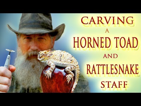 Carving a Wooden Horned Lizard/Rattlesnake Walking Stick