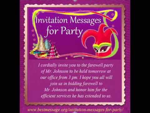 Best Invitation Messages Sample | Party Invitation Text Message