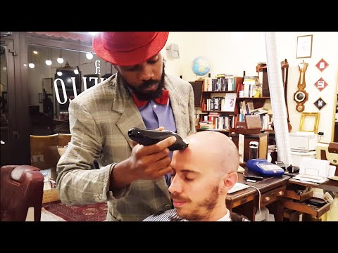 Old School Senegalese Barber - Head and Face shave with clippers - ASMR video