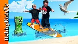 Scary Surfing Disaster! Shark + Creeper Attack Kids - Funny Story Time HobbyKidsTV
