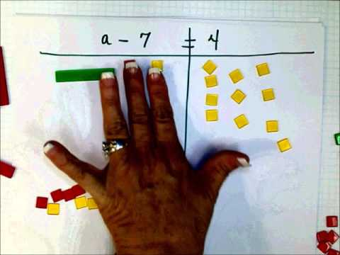 SCC Math 205 One Step Subtraction Equations with Algebra Tiles
