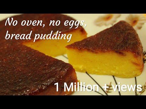 Bread pudding - No oven no eggs bread pudding recipe - Eggless bread pudding - Caramel bread pudding