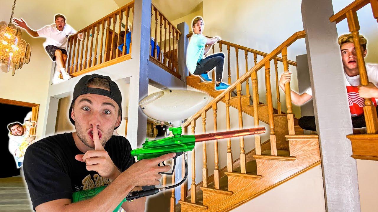 PaintBall Hide N Seek In NEW HOUSE!