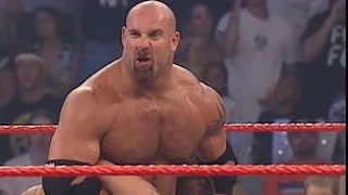 Goldberg hits Randy Orton with the Jackhammer: Raw, Sept. 1, 2003