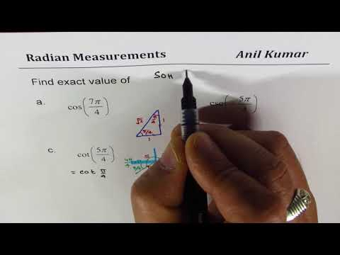 Find Exact Value of Trigonometric Ratios Angle in Radians