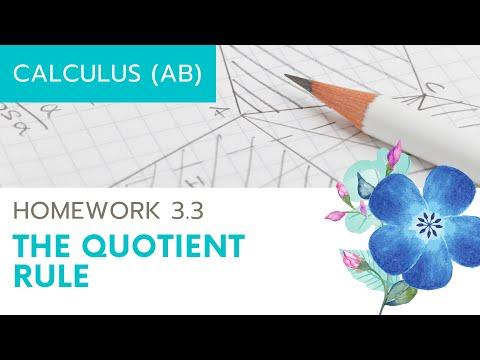 Calculus AB Homework 3.4 The Quotient Rule