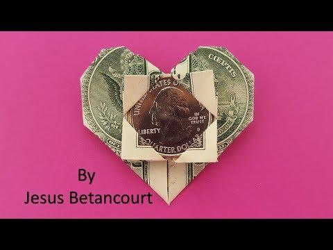 Dollar Bill Origami Heart With Quarter.
