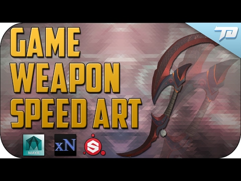 Crescent Blade Game Weapon Speed Art | Maya and Substance Painter