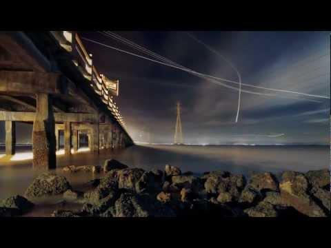Long exposure night photos of airplanes