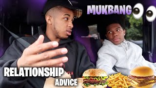 DDG GIVES ME RELATIONSHIP ADVICE ON HOW TO DEAL WITH MY EX *MUKBANG* (he tells me the harsh truth)