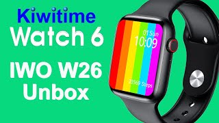 KIWITIME WATCH 6 IWO W26 Smartwatch unboxing Review-First IWO Model with Infinite Screen-Just usd25+