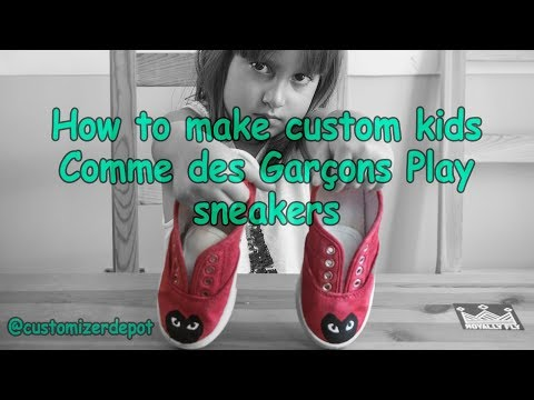 Comme Des Garcons Play Kids Sneakers (Time Lapse) how to paint kids shoes