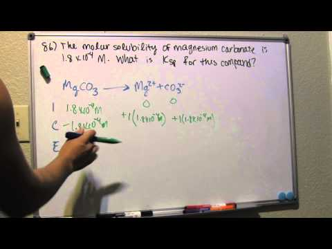 Calculate Ksp from Molar Solubility - Problem 86
