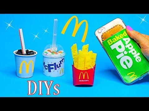 5 McDonalds DIY Crafts {Easy}! Miniature Notebook,Pen,Phone Case,Food Slime DIYs-DIY School Supplies