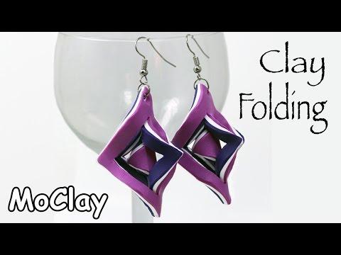 DIY Earrings - Polymer clay tutorial folding technique -