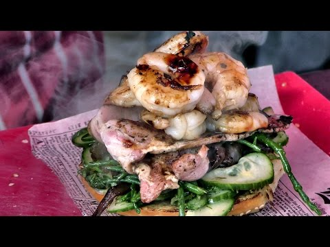 London Street Food. Shrimps and Bacon Burger Sandwich Seen and Tasted in Camden Town