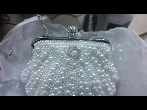 Beaded White Pearl Clutch Bag Women Bridal Wedding Pearl Evening Clutch UK Online