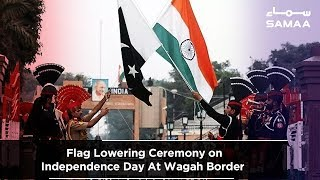 Flag Lowering Ceremony on Independence Day At Wagah Border   SAMAA TV   14 Aug 2019
