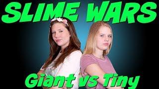 SLIME WARS TINY VS GIANT SLIME CHALLENGE || Taylor and Vanessa