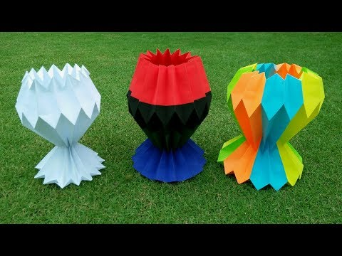 How To Make A Multicolor Paper Flower Vase - DIY Easy Paper Craft