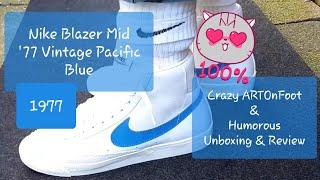 7fcbc1e1242590 Nike Blazer Mid  77 Vintage Pacific Blue  White  Sail UnBoxing   Surreal  ARTONFOOTS