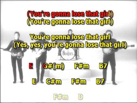 Youre Gonna Lose That Girl The Beatles Guitar Lesson Chord Chart