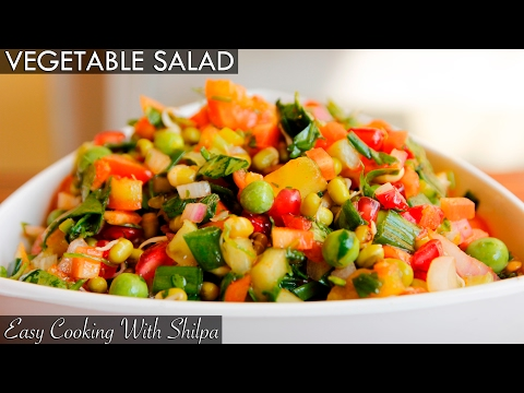 Healthy Vegetable Salad Recipe | Quick and Easy Vegetable Salad | EasyCookingWithShilpa
