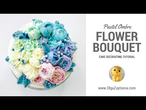 How to make Pastel Ombre Buttercream Flower Bouquet cake. Tutorial trailer