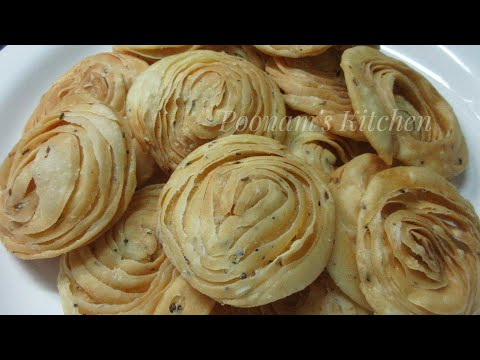Crispy Verki Puri Recipe - Diwali Special Snacks - Tea Time Snacks - Easy Three Layer Puri