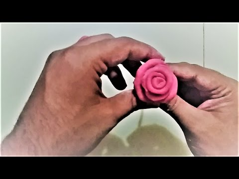 How to make red rose from homemade clay-very easy