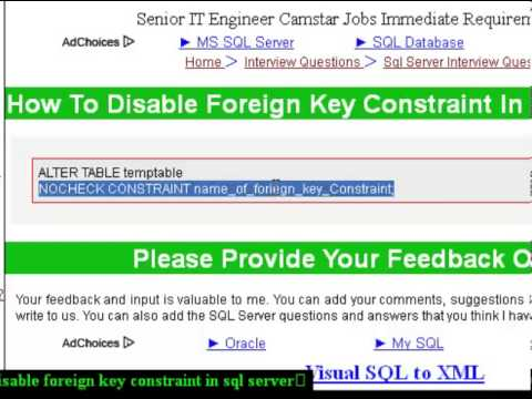 How to disable foreign key constraint in sql server
