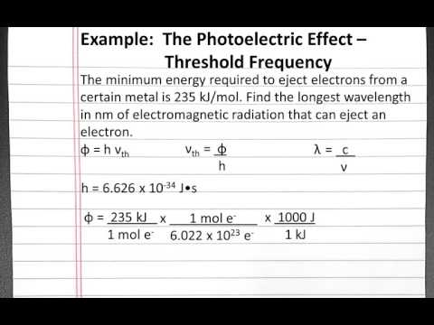 CHEMISTRY 101: Photoelectric Effect, Threshold Frequency
