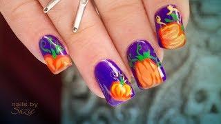 Grant and Suzie Hand-Paint Pumpkin Halloween Nail Art
