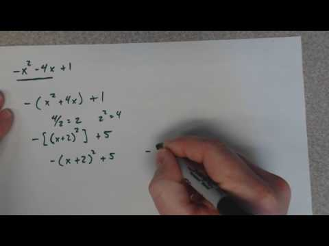 Convert to vertex form with a negative x squared