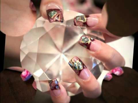 Edge acrylic nails,mosaic tips.
