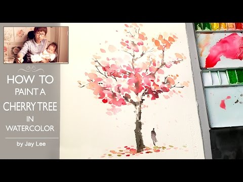 How to Paint a Cherry Tree in Watercolor : Painting Trees