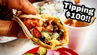 Download BEST Mexican Street Food TACOS - Tipping $100 Dollars - EXTREME Barbacoa Taco Video