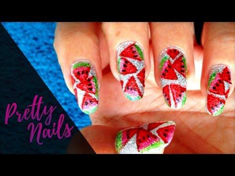 Watermelon Nail Art Using Highlighters   Pretty Nails