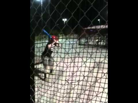Nolan in the batting cage