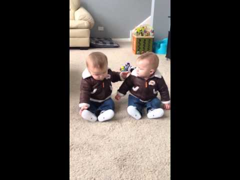 6 Month Old Twin Brothers in Bomber Jackets Interacting (Adorable)