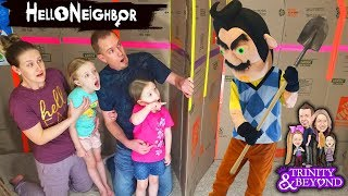 HELLO NEIGHBOR in Real Life in HUGE Box Fort Escape Room!!! Escaping Hello Neighbor! Part 4