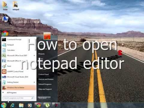 How to open notepad text editor