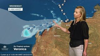 Download WEATHER UPDATE: ex-tropical cyclone Veronica, Tuesday 26 March 2019 Video