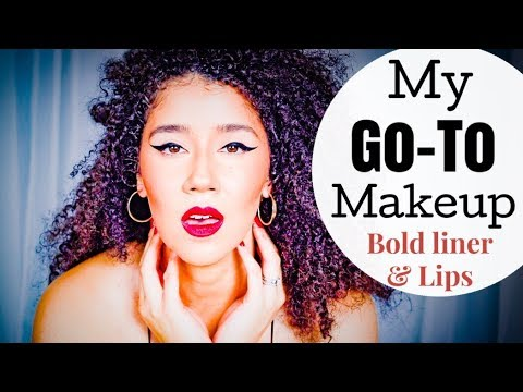 My 'Go To' Makeup Look   Bold Winged Eyeliner and Bold Red LIP    Flawless Skin With Acne
