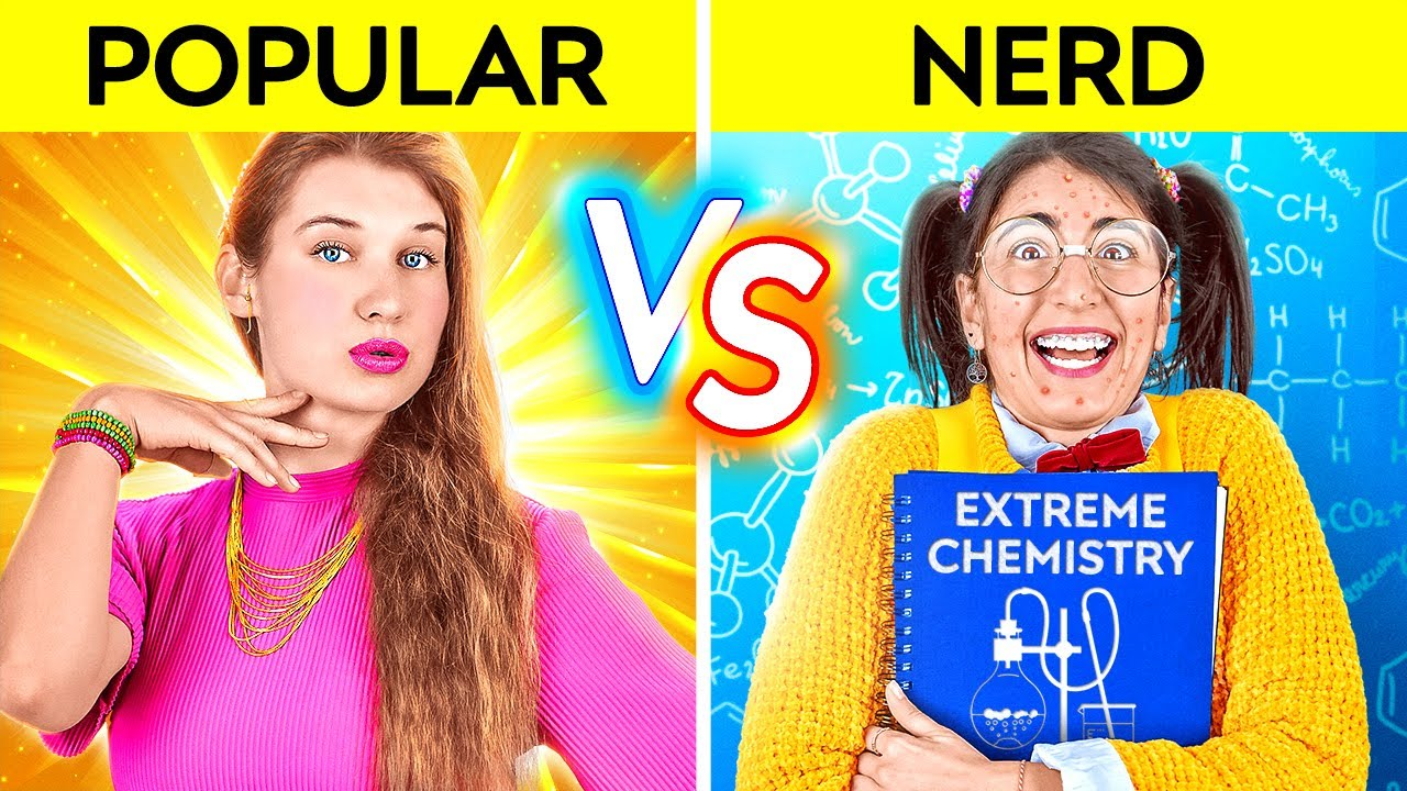 POPULAR VS NERD FOR 24 HOURS! Types Of Students At School! Popular Overnight by 123 GO! CHALLENGE