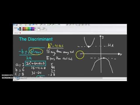 The Discriminant Algebra 2 Lesson 6.3