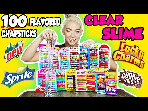 MIXING 100 FLAVORED CHAPSTICKS INTO A GIANT CLEAR SLIME! | SO SATISFYING UGH!